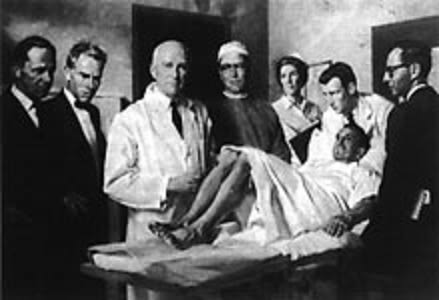 Portrait of Dr. William German by Deane Keler, 1963 (left to right: Dr. Lycurgus Davey, Dr. Benjamin Whitcomb, Dr. William German, Dr. Stevenson Flanigan, Elsie McIntyre, Dr. John German, Dr. Saul Frankel