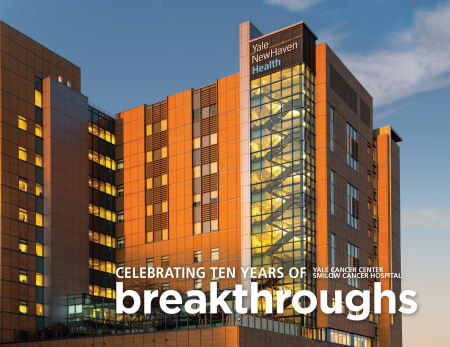 exterior of Smilow at sunset with breakthroughs text