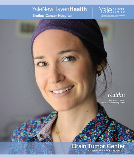 brain cancer survivor on cover of brochure