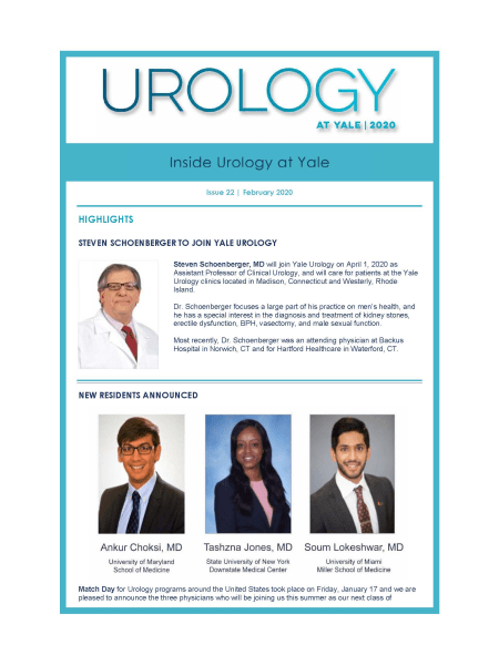 Cover image for the February 2020 Inside Urology at Yale newsletter