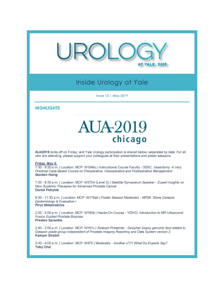 Inside Urology at Yale cover - May 2019