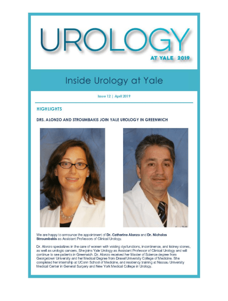 Inside Urology at Yale April 2019 cover image