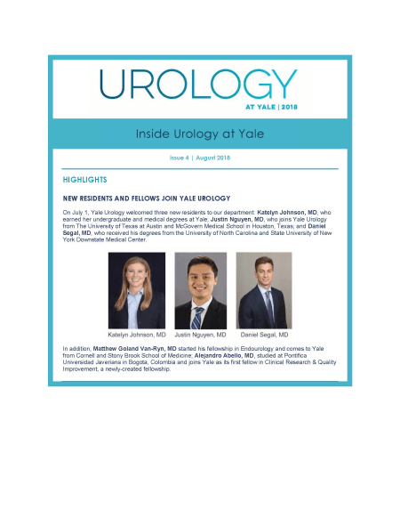 Urology at Yale newsletter August 2018 cover image