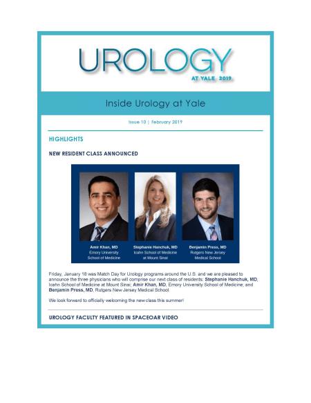 Inside Urology at Yale February 2019 cover image