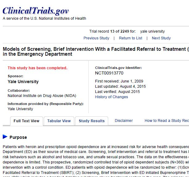 Study on ClinicalTrials.gov