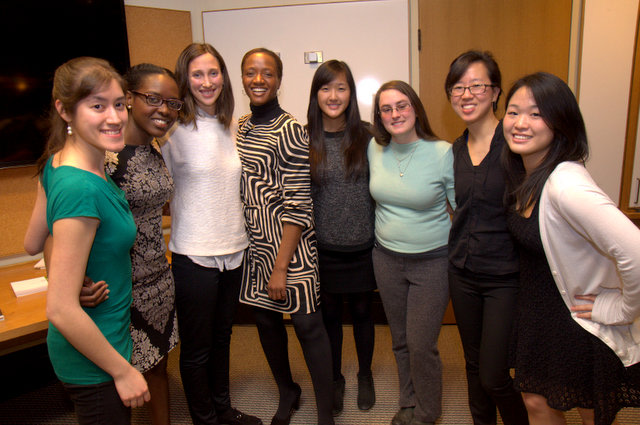 First-year medical students Angela Gauthier, Mehida Alexandre, Julie Berk-Krauss, Lucy Liu, Jessica Greenberg, Jennie Choe, and Jessica Chen worked with Alita Anderson, (striped dress) to produce histories of workers at the medical school.