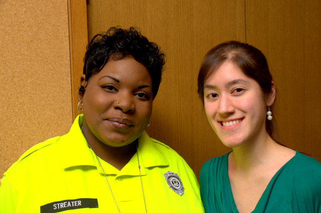 "Angela Gauthier with Philomena Streeter, a security guard in the Child Study Center who ""loves talking to everyone who walks by. Mena especially loves children. She always make sure that every child that walks in is happy and well cared for."""