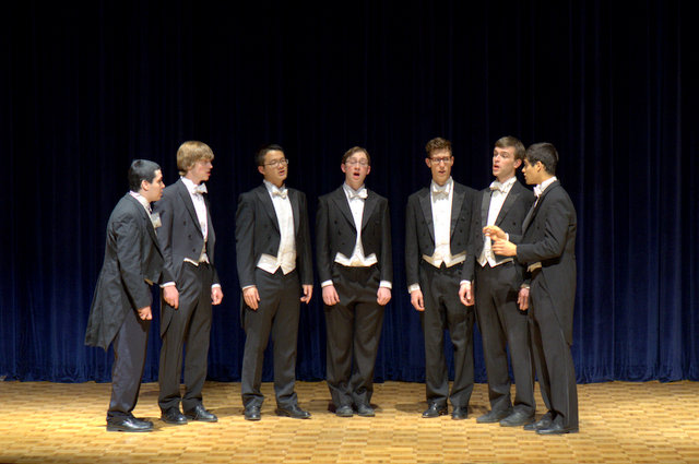 """The Spizzwinks, an undergraduate a cappella group founded in 1914, performed at the Grannum Jamboree. Among their offerings was the Beatles' """"Let It Be."""""""