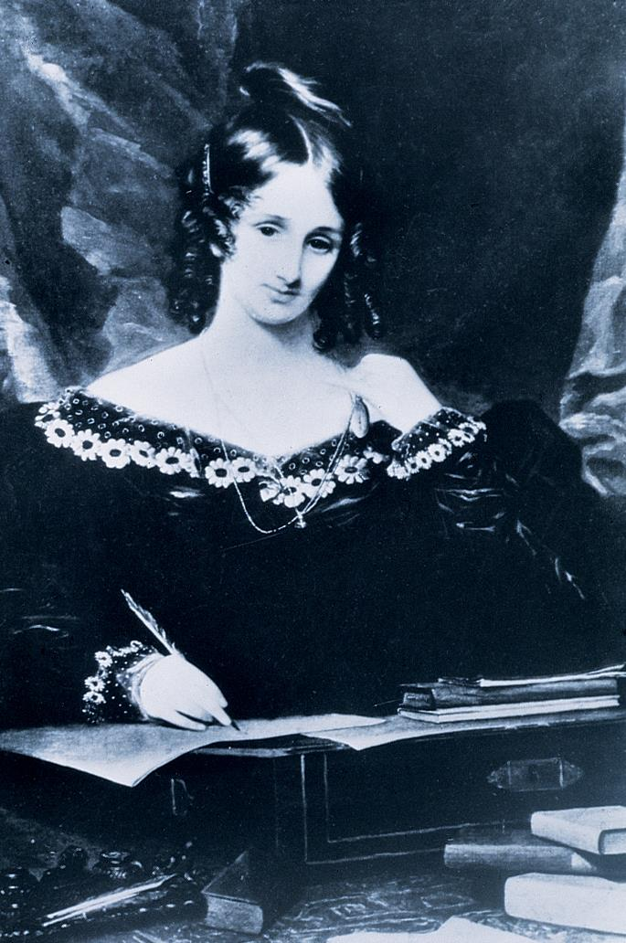 A portrait of Mary Shelley writing.