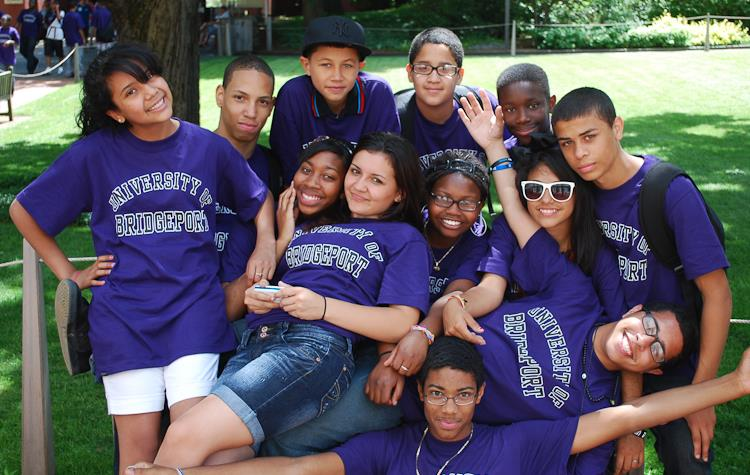 GEAR UP students participating in the summer program, hosted by the University of Bridgeport