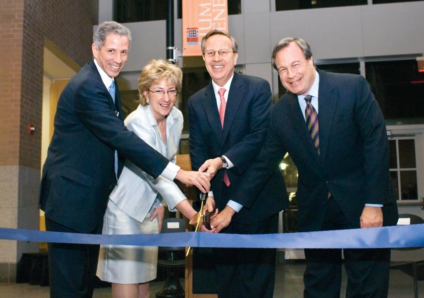 Robert Alpern, Diane Jorkasky, Richard Levin and Pfizer CEO Jeffrey Kindler cut the ribbon at a ceremony marking the opening of the medical school's new PET Center.