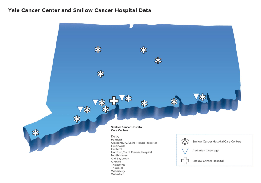 Map of care center locations