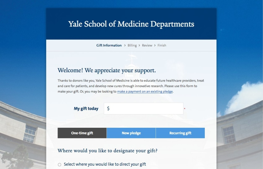 Giving to Yale Website Screenshot