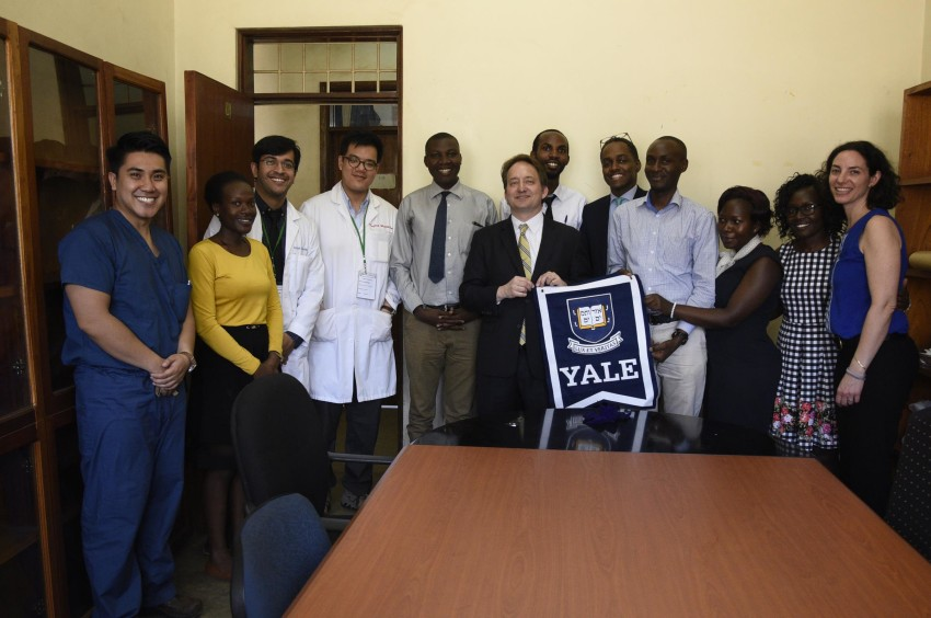 A group of former trainees from Uganda meet with current U.S.-based J&J Scholars; Rabin (far right); MUYU administrators; Pericles Lewis, vice president and vice provost for Global Strategy (center); and Eddie Mandhry from the Office of International Affairs (fifth from the right).
