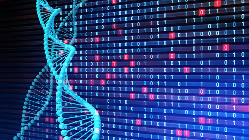 DNA double helix and binary code