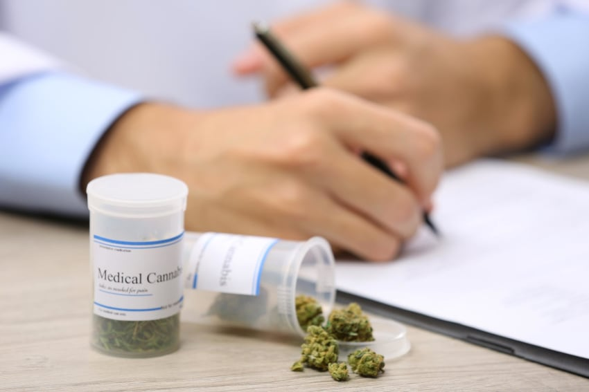 Medical cannabis in a prescription bottle on a doctor's desk