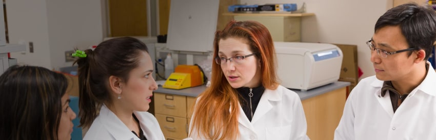 Dr. Stephanie Eisenbarth (third from left), a 2011 YCCI Scholar, in a discussion with her lab team.