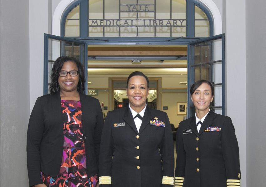 Left to right: Jovonni R. Spinner, Senior Public Health Advisor, FDA Office of Minority Health; RADM Denise Hinton, Chief Scientist, FDA; CAPT Richardae Araojo, Associate Commissioner for Minority Health, FDA.