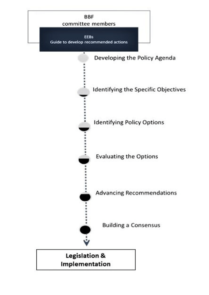 BBF committee members can use EBBs to develop recommendations and actions that ultimately lead to legislation and policy.