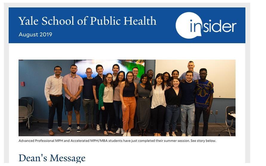 Yale School of Public Health Insider graphic