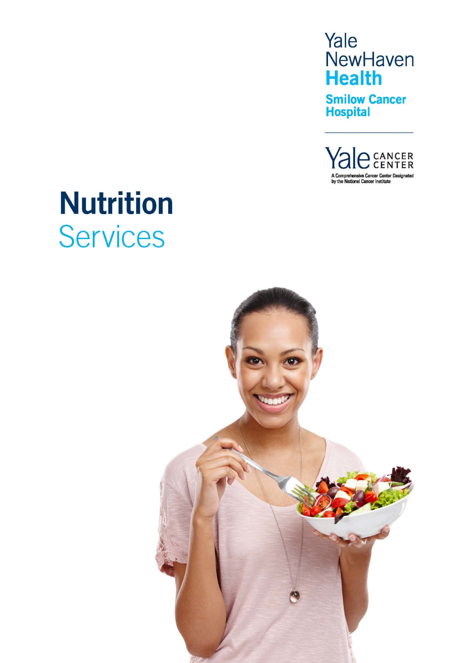 cover of nutrition brochure- woman eating a salad