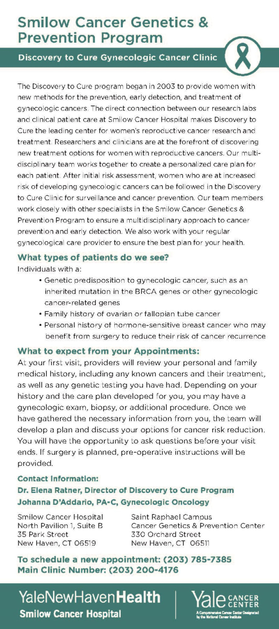 Gynecologic Oncology Prevention Clinic rack card