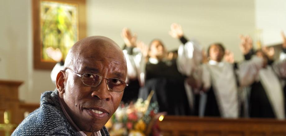 prostate cancer survivor fred in church