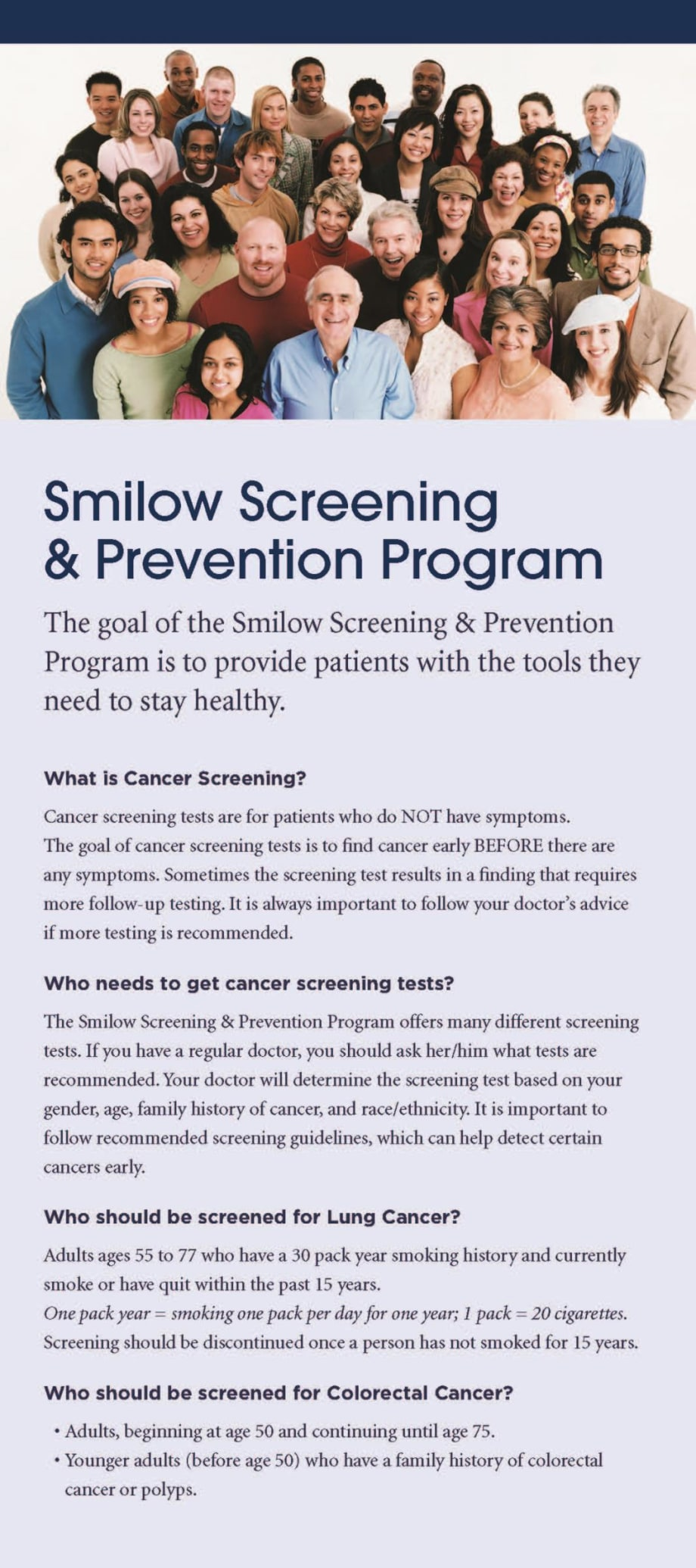 screening program rack card cover