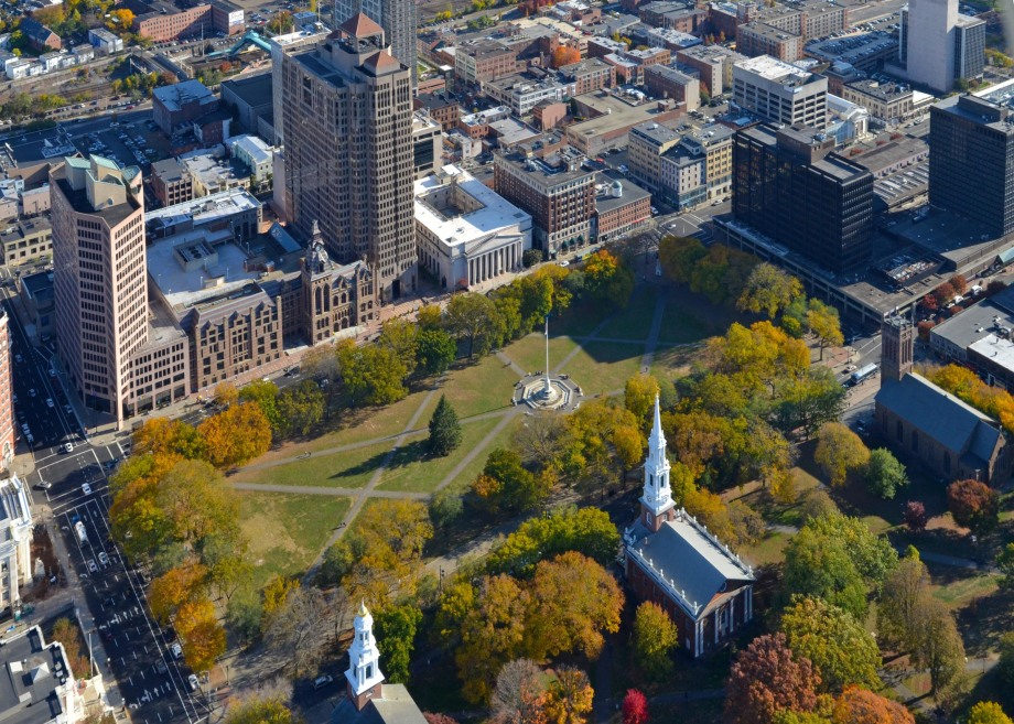 Ariel view of new haven green