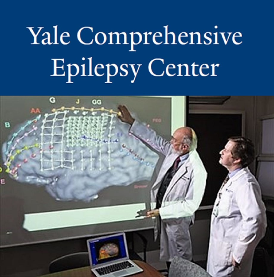 Two doctors analyzing an image of a brain at the Yale Comprehensive Epilepsy Center