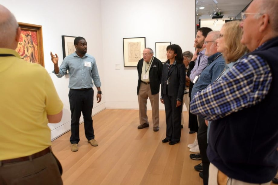 Medical student Robert Rock led alumni on a tour of the Yale University Art Gallery, in which he used paintings to initiate a discussion of issues of power and equality.