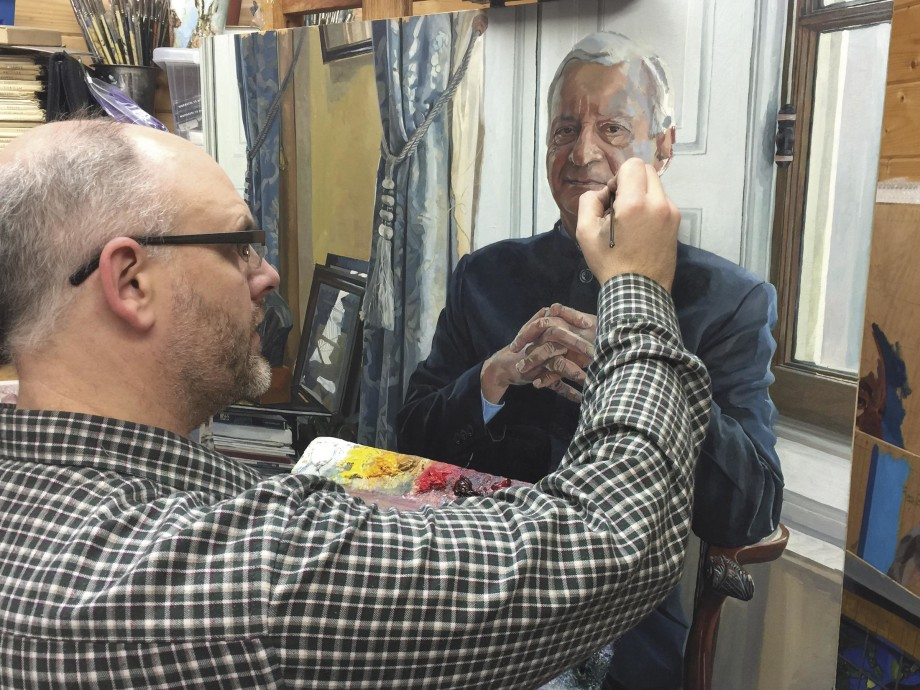 The artist practicing his craft—Adams sees in his portraits a lifetime of habits and hobbies, and brings them to life on canvas