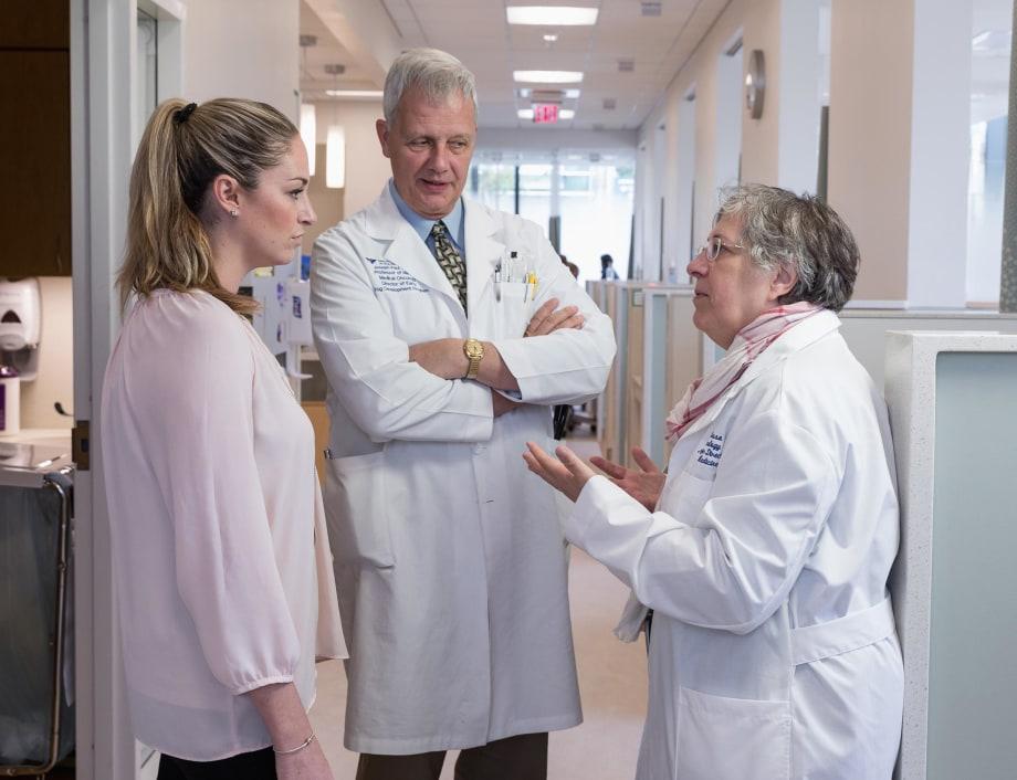 Patricia LoRusso (right) and Joseph Paul Eder (center)—shown conferring with Clinical Research Coordinator Alexandra Minnella
