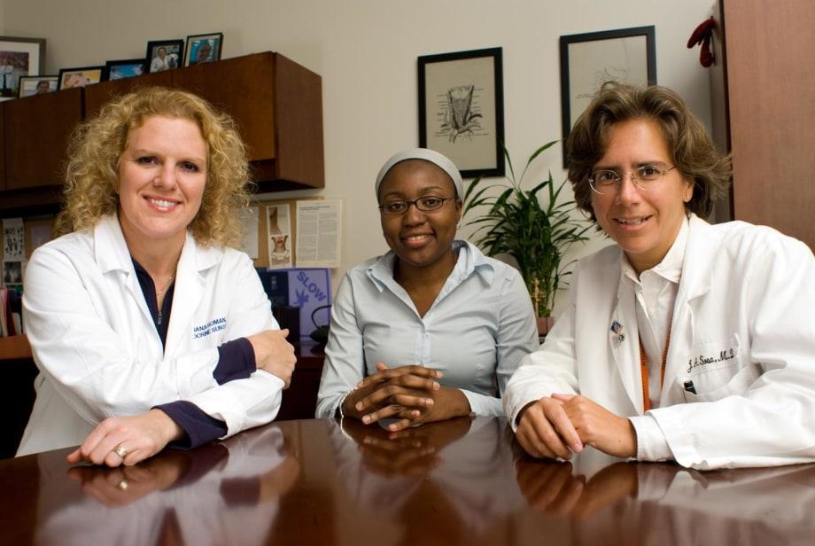 Sanziana Roman, medical student Hazida Kazaure, and Julie Ann Sosa.