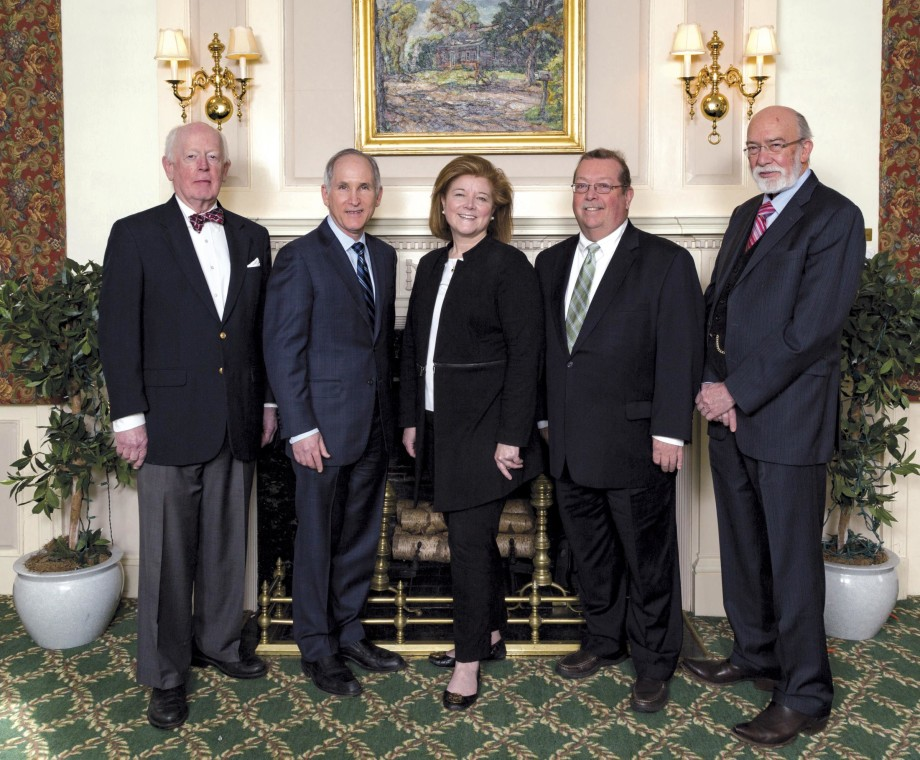 (l-r): Stephen Hotchkiss, co-trustee; Charles Fuchs, Yale Cancer Center director; co-trustees Amy Lynch (for Bank of America, N.A.) and John Brennan; Dennis Spencer, chief of epilepsy surgery.