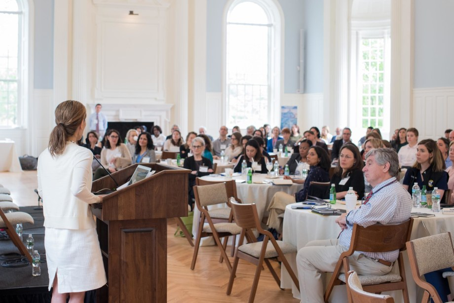Esther Choo, MPH, MD '02 addresses the retreat attendees