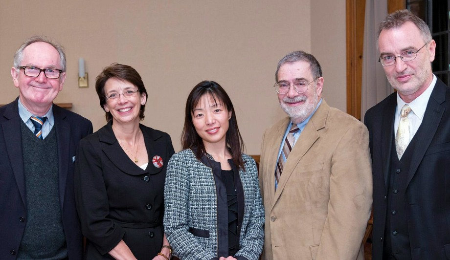 Members of the AbbVie-Yale Collaboration in Immunobiology's steering committee include (from left) Richard Flavell, Lisa Olson, Akiko Iwasaki, Jordan Pober, and Hamish Allen.