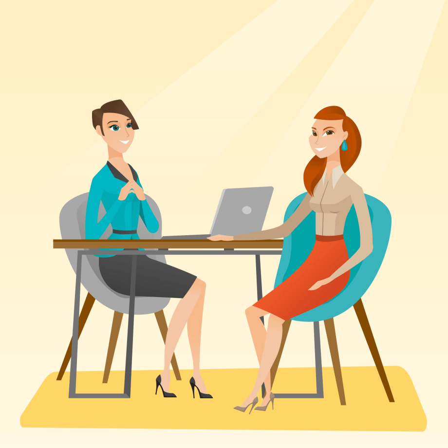 Illustration of a human resource manager talking with a job candidate.
