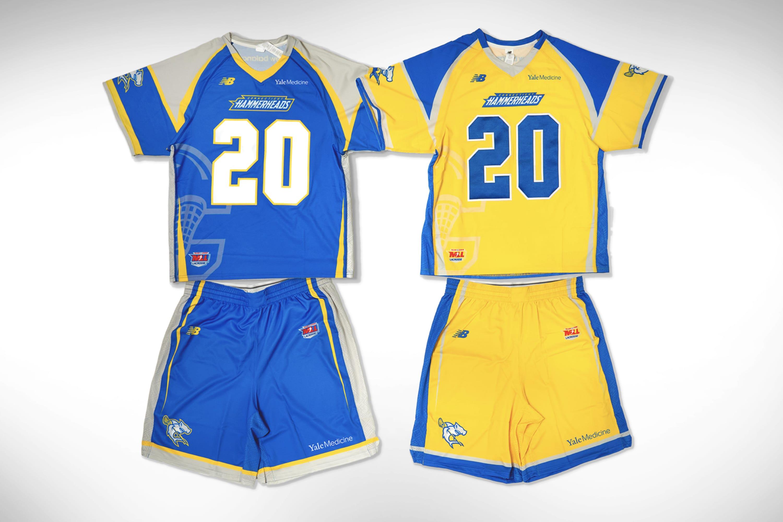Hammerheads Lacrosse jerseys with Yale Medicine logo on them