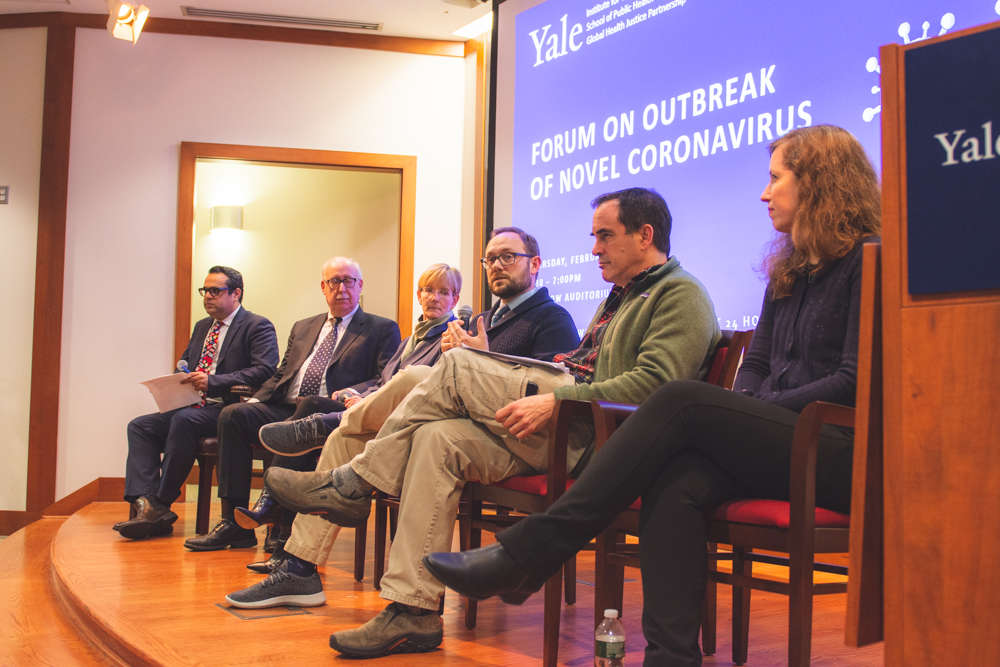 Yale experts discuss the novel coronavirus epidemic at a forum at the Yale School of Public Health on Feb. 6.